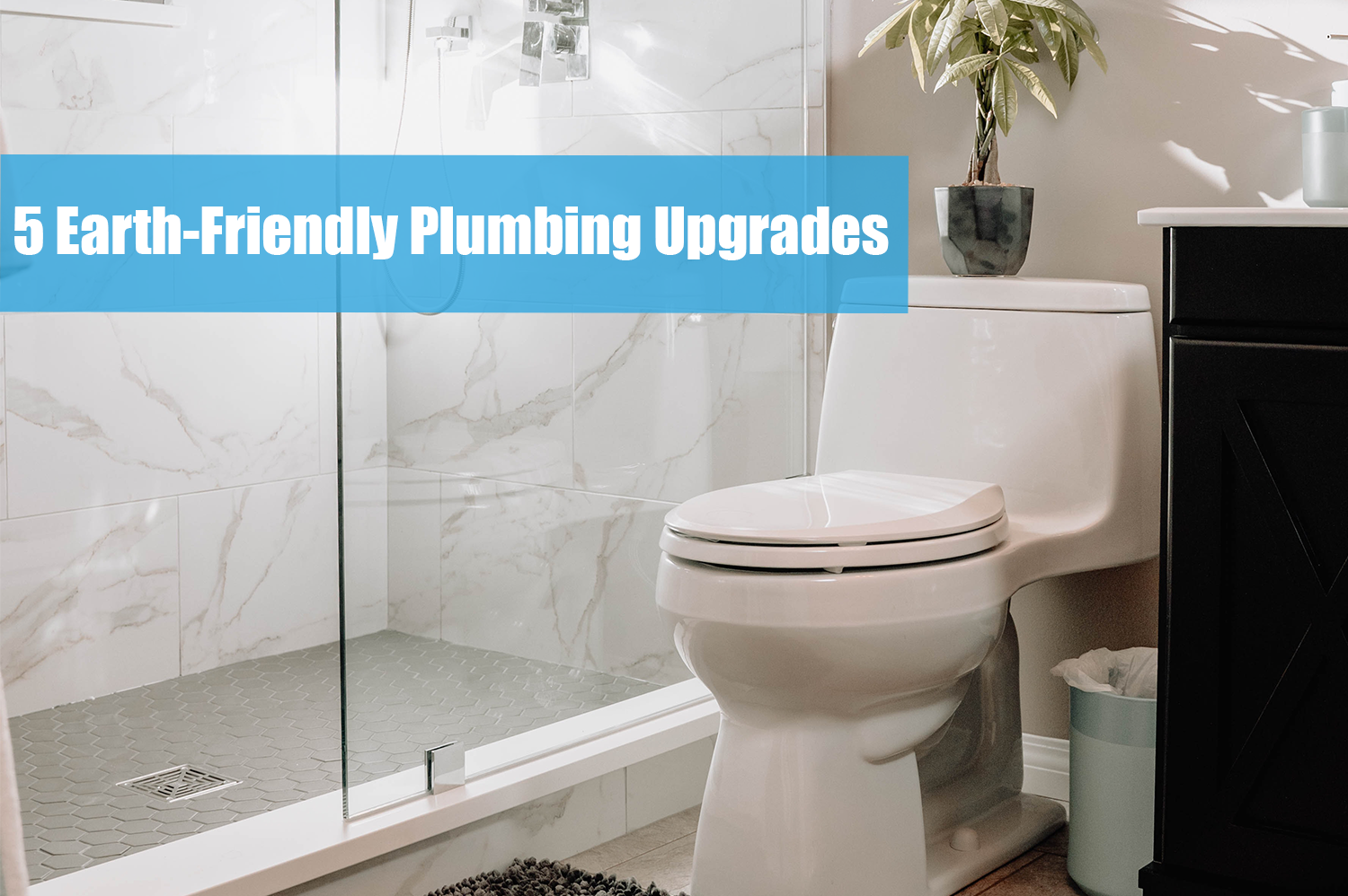 Clean bathroom with an older white toilet, an easy plumbing upgrade to save the homeowner water.
